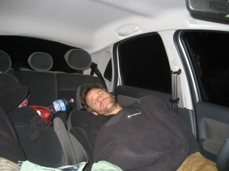 Dan sleeping in car